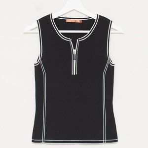 Belldini Black Sleeveless Knit Zip Front Top PS